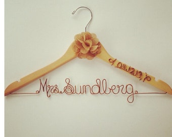 RUSTIC Custom Wire Wedding Hanger with Burlap flower