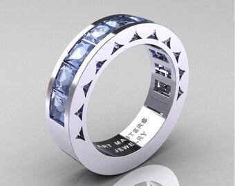 Mens Modern 14K White Gold Princess Aquamarine Channel Cluster Sun Wedding Ring R274-14WGAQ