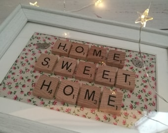 Scrabble frame, Home sweet home picture frame ~ new home gift ~ first home gift ~ house gift
