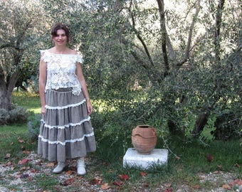 Tweed with Ruffles and lace skirt