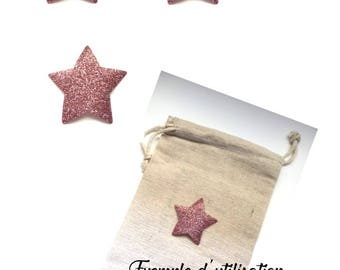 3 stars on pink (5 cm diameter) to iron to personalize, customize a garment or accessory.