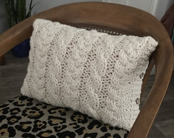 Chunky Cable Knit Pillow Cover- Lumbar, small