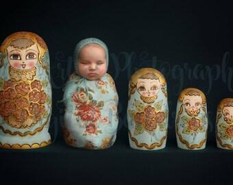 Russian Nesting Doll / Matryoshka Doll Digital Backdrop for wrapped newborn baby