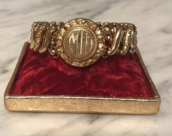 """SALE!! Vintage Sweetheart Expansion Bracelet – Monogrammed """"MID"""" – Gold Filled – Signed Carmen - The D.F.B Co – Original Box"""
