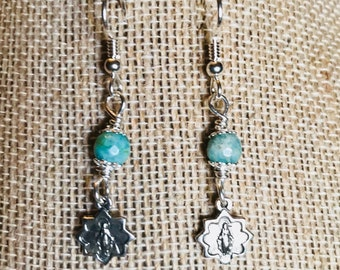 Miraculous Medal Earrings, drop, Amazonite, wire wrapped sterling silver earrings, Catholic