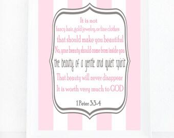 1 Peter 3-3:4 Wall Art, Scripture Art, It Is Not Fancy Hair, Religious Gift, Baby Girl Nursery Art, Inspirational Print, Bible Verse, Poster