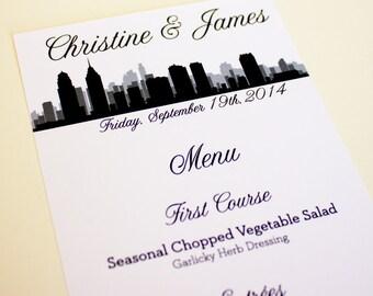 Philadelphia Menu Cards Skyline Custom Wedding Decor Handmade Choose Font and Color