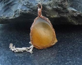 Golden flint pendant, natural stone, FREE POSTAGE, found object chert jewelry, boho jewellery, delicate flint pendant, wire wrapped giftwrap