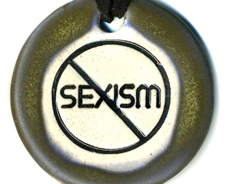 End Sexism Ceramic Necklace Semi Matte Blue and Green