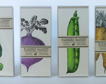 FARMERS MARKET cards, Vegetable cards, garden cards, letterpress cards, carrot greeting cards, 4 packs/32 cards, gifts for gardeners, chefs