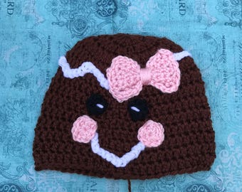 Gingerbread Hat, Crochet Hat, Winter Hat,Clearance Item