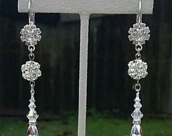 Crystal and Rhinestone Drop Earrings