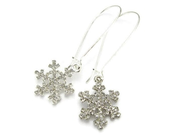 SNOWFLAKE EARRINGS, 925 Silver Kidney Wires, Sparkling Crystal Flakes, Falling Snow, 3D Winter Wonderland Jewelry, Handmade Gift Under 20