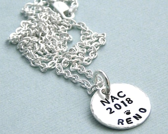 NAC 2018 AKC National Championship Little Commemorative Charm - Hand Stamped Sterling Silver - Dog Agility - Canine Agility