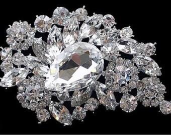 Rhinestone Brooch Pin - Rhinestone Crystal Brooch - Rhinestone Brooch - Bridal Sash Brooch-