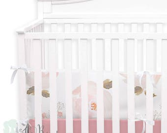 Pastel Floral  2-in-1 Crib Bumper/Rail Cover | Convertible Baby Girl Bumper Set | Pastel Floral Crib Bumper Set