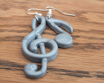 SALE!! Silver music earrings, treble clef earrings, musical note earrings, polymer clay earrings