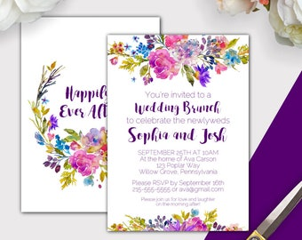 Garden Post Wedding Brunch Invitation, Instant Download PDF, Purple Post Wedding Invitation, Floral Brunch Wedding Invitation Template K003