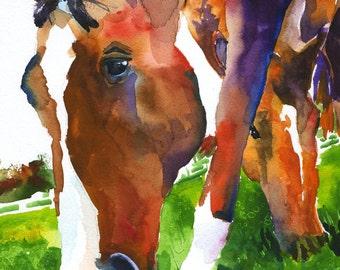 Grazing Horses Art Print of Original Watercolor Painting 8x10