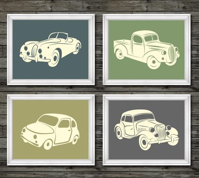 Vintage car and truck decor vintage nursery decor boys for Antique car decor