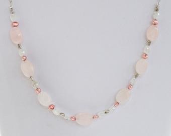 Necklace, Rose Quartz and Pearl