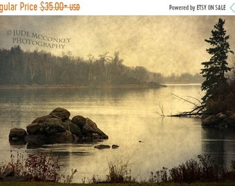25% Memorial Day Sale landscape photography fog tree river fine art photography home decor office decor