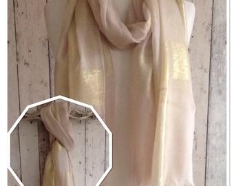 Beige Gold Lurex Thread Stripe Scarf/Sarong