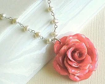 Real Rose Necklace - Pearl Necklace, Pink Rose, Sterling Silver, Flower Jewelry, Nature Jewelry