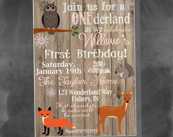 Digital Woodland Animals Winter Onederland First Birthday Girl Party Invitation Printable