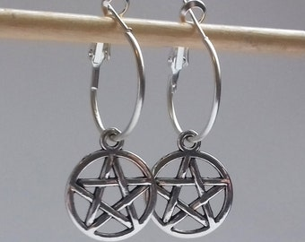 Silver Pentagram Earrings , Silver Pentacle Earrings , Pentagram Hoops , Silver Hoops , Wicca Earrings , Hoop Earrings , New Age , Boho
