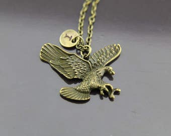 Eagle Necklace, Flying Eagle Necklace, Eagle Charm, Bird Charm, Animal Charm, Personalized Gift, Best Friend Gift, Coworker Gift