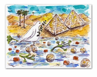 Passover Art, Matzo Ball Soup and Matzo Pyramids, Funny Jewish art, Original Watercolor, White Peace Dove, Jewish Gift, Jewish Food, Judaica
