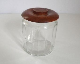 Vintage 1960's Walnut & Glass Tobacco Humidor Jar