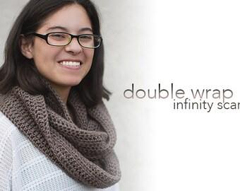 Crochet Pattern - Double-Wrap Infinity Scarf (Infinity Scarf Crochet Pattern by Little Monkeys Crochet) Infinity Scarf Crochet Pattern