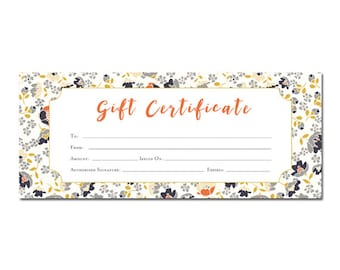 Floral print, Blank Gift Certificate, Premade, Gift Certificate Printable, gift certificate template Last Minute Gift Ideas