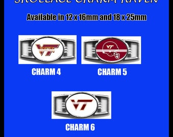 VIRGINIA TECH Shoelace Charm  Paracord Bracelet Charm Oval Charm 12 x 16mm or 18 x 25mm Charms