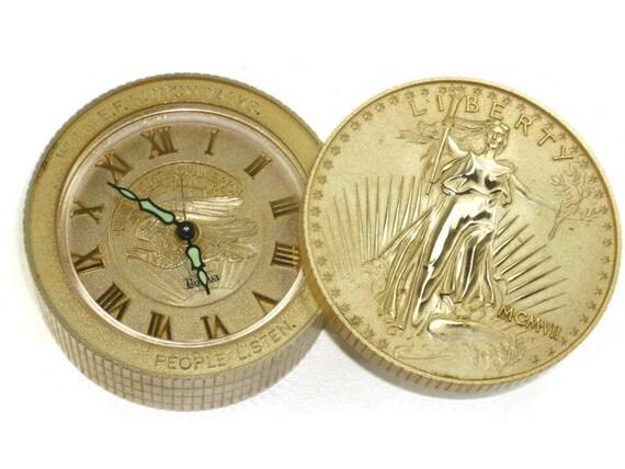 E F Hutton Bulova reloj obras Vintage Lady Liberty moneda pila