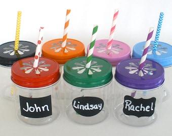 """Plastic Mason Jars 8oz w/ """"FREE"""" Chalkboard Labels / Kids Cups / 10 Plastic Jars, 10 Daisy Cut Jar Lids & 10 Labels / Kids Party"""