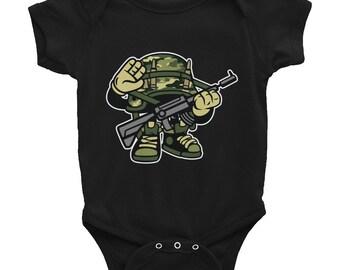 Young Solider Army Kid Modern Design Infant Bodysuit Onesie