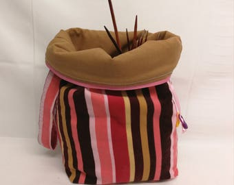 Project bag, project bag for socks, baby cord in strips