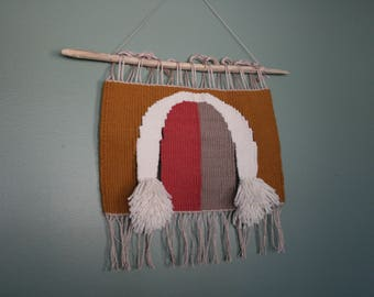 handwoven wall hanging   tapestry weaving   wool wall art