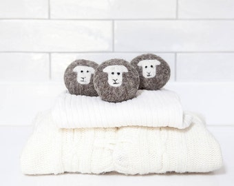 Wool dryer balls, pack of 3 Herdwick sheep felted laundry balls, reusable, chemical free laundry, natural fabric softener