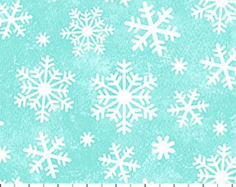 Large Snow Flakes Turquoise Flannel - Snow Bears by Deborah Edwards for Northcott - Flannel Fabric - Christmas Flannel  - Children Flannel