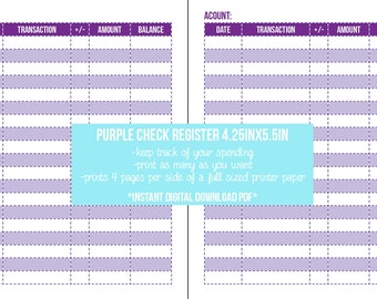 Purple Check Register Insert   DIY Instant Digital Download PDF 4.25x5.5