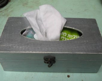 Silver Tissue box, Shabby Chic wooden tissue box cover, napkin storage box,