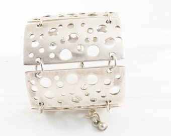 Rectangles, Silver Plated  Cuff Bracelet