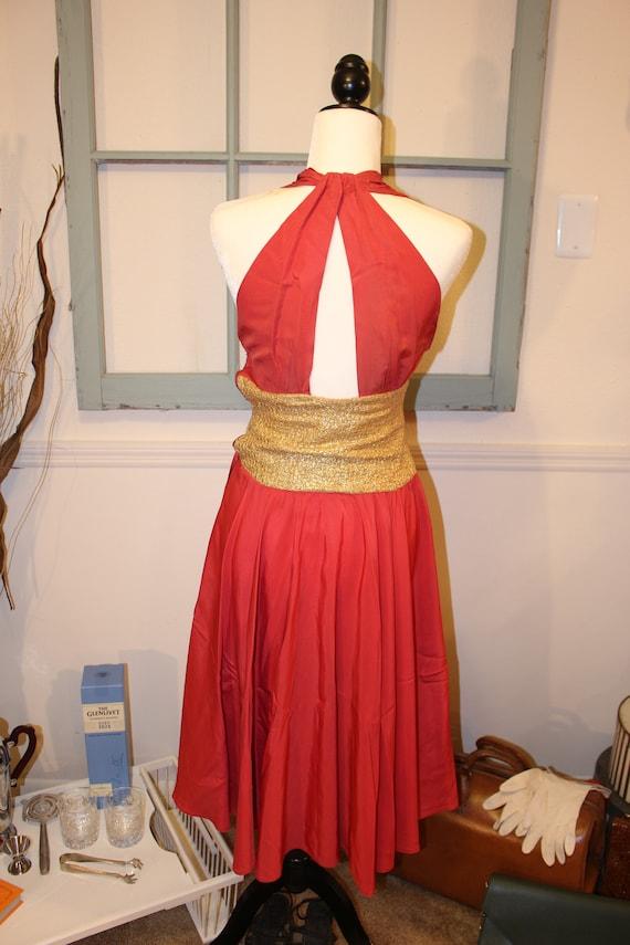 1940s halter keyhole red orange Chapman dress Ceil cocktail Stunning dancing qEwfXxYtx