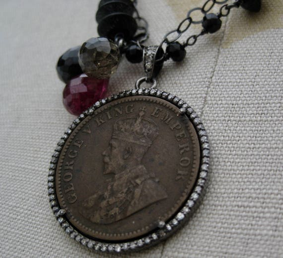 EMBER     Double Strands of Oxidized Sterling Silver, Onyx, Tourmalines, Bronze Antique Coin with Diamonds