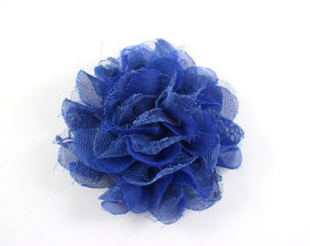 3.75 inch Chiffon Lace Flower in Blue - Flower Head for Headbands and DIY Hair Accessories