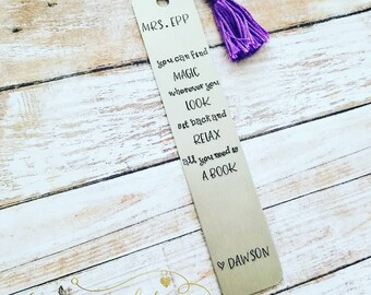 Personalized Hand Stamped Bookmark ~ Teacher Gift ~ Bookworm ~ Dr Seuss Quote